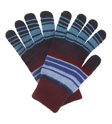 PAUL SMITH ACCESSORIES Bright stripes knitted lambswool gloves (Org+pur+gry