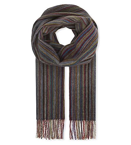 PAUL SMITH ACCESSORIES Striped cashmere scarf (Grey+multi
