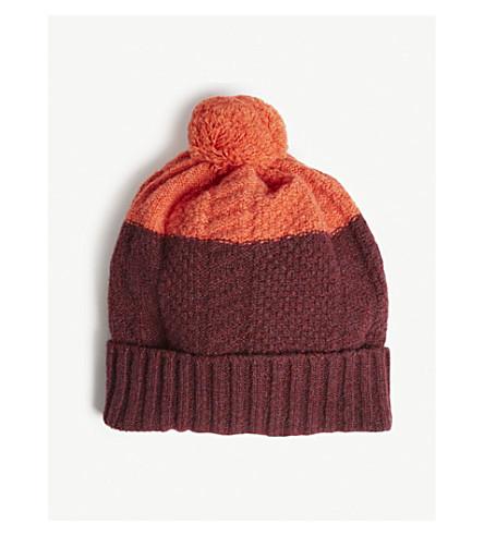 PAUL SMITH ACCESSORIES Pom pom cable-knit wool beanie (Burgundy+orange