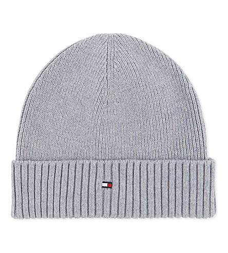 TOMMY HILFIGER Knitted cotton-cashmere beanie (Light+grey
