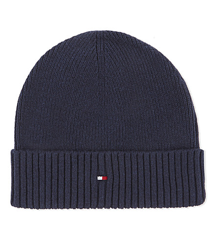 TOMMY HILFIGER Knitted cotton-cashmere beanie (Navy