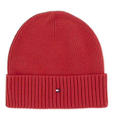 TOMMY HILFIGER Ribbed cotton-cashmere beanie (Red