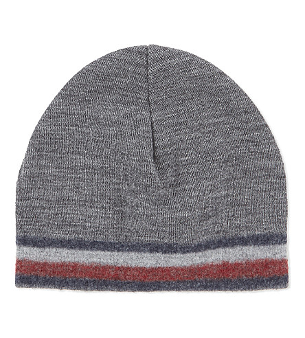 TOMMY HILFIGER Corporate stripe knitted wool-blend beanie (Grey