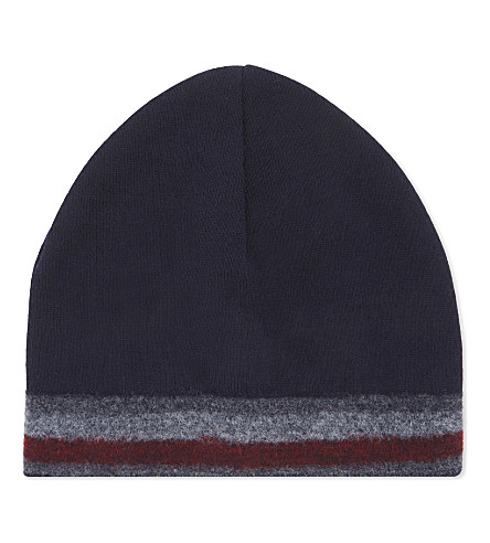 TOMMY HILFIGER Corporate stripe knitted wool-blend beanie (Navy