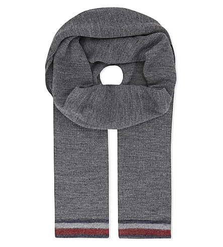 TOMMY HILFIGER Corporate stripe wool-blend scarf (Grey