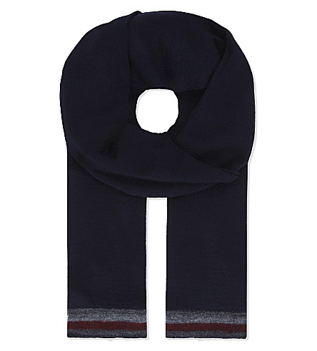 TOMMY HILFIGER Signature stripes knitted scarf (Navy