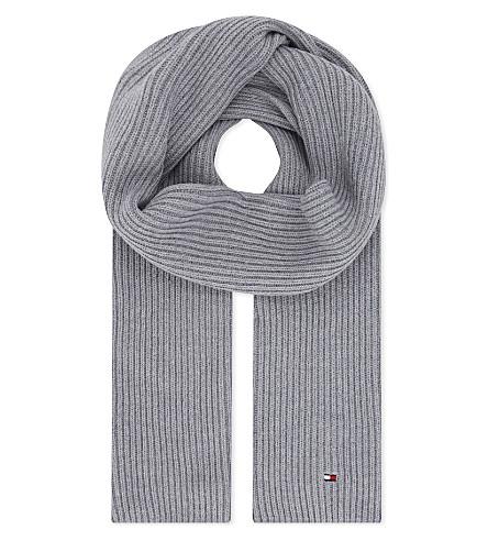 TOMMY HILFIGER Pima cotton-cashmere blend scarf (Light+grey