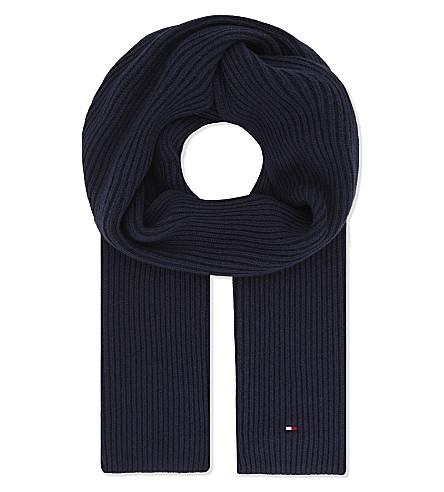 TOMMY HILFIGER Pima cotton-cashmere blend scarf (Navy