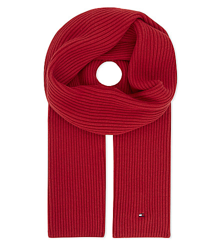 TOMMY HILFIGER Pima cotton-cashmere blend scarf (Red