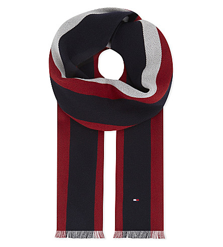 TOMMY HILFIGER College stripe wool scarf (Navy