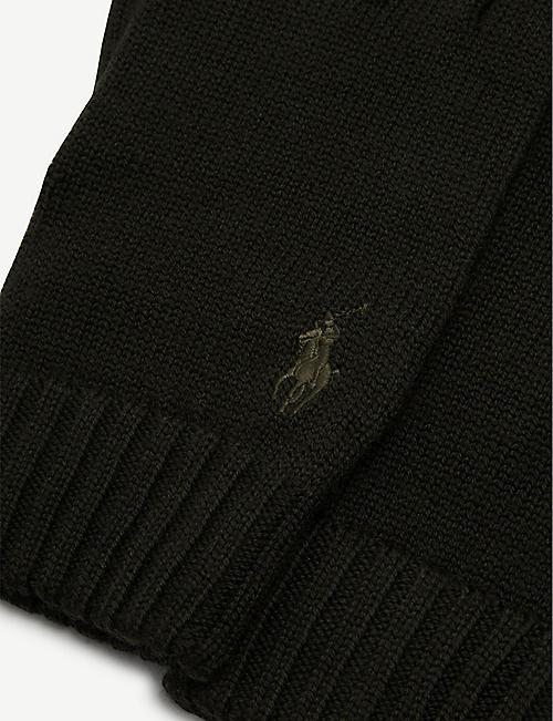 POLO RALPH LAUREN 刺绣标志梅里诺羊毛手套