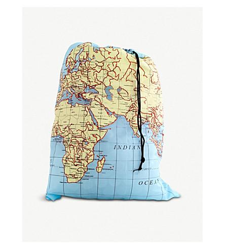 KIKKERLAND 地图打印拉绳洗衣袋