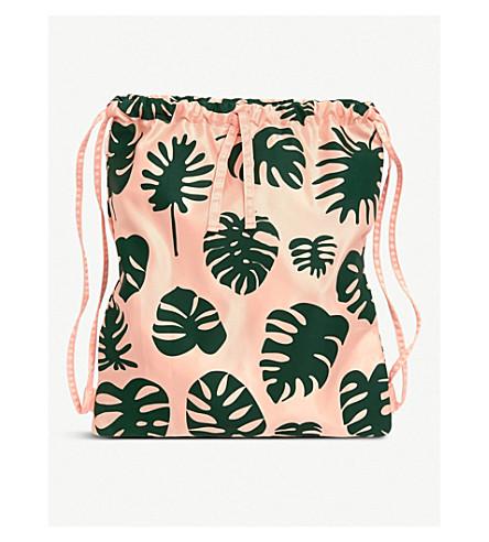 BANDO Monstera patterned drawstring backpack