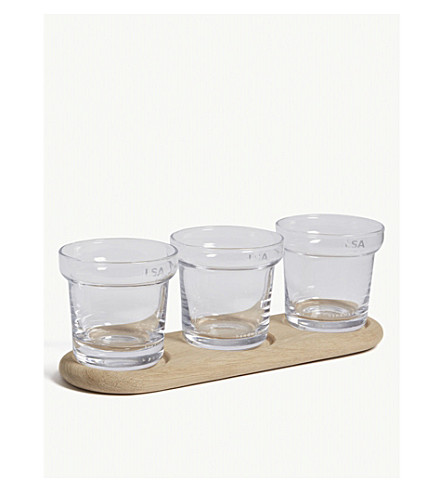LSA Glass plant pot set of three