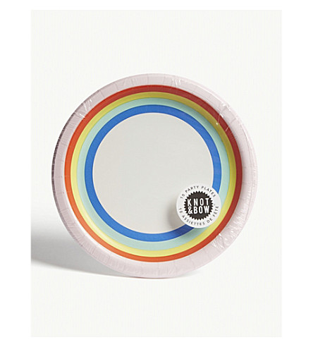 KNOT & BOW Rainbow paper plates pack of ten