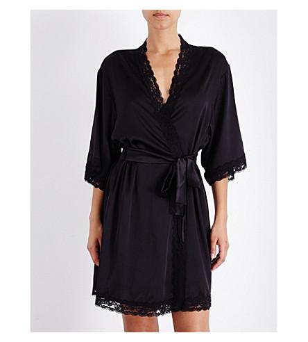 MIMI HOLLIDAY Fortune Cookie stretch-silk-satin robe (Black cherry