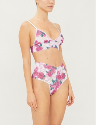 Kensington floral-print lace and stretch-jersey padded bralette