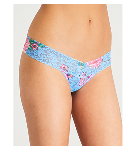 Buy Cheap With Paypal HANKY PANKY Janis floral-print stretch-lace thong Blue multi Outlet Purchase Visit Cheap Price pMwnUKT