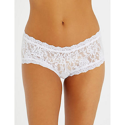 HANKY PANKY Signature lace boy shorts (White