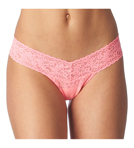 HANKY PANKY Signature Lace Low Rise Thong (Neon++coral