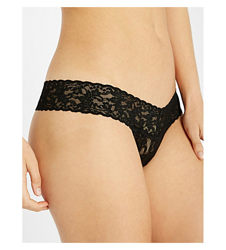 HANKY PANKY Signature stretch-lace low-rise thong (Black