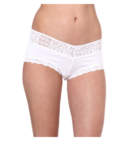 HANKY PANKY Logo-detail boy shorts (White