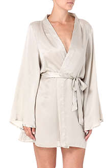 BEAUTIFUL BOTTOMS Metallic Luxe silk short robe