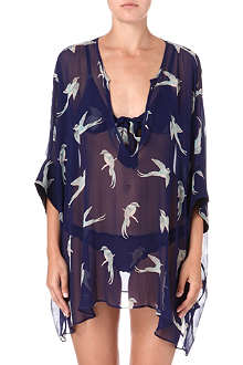 BEAUTIFUL BOTTOMS Oriental bird silk shirt
