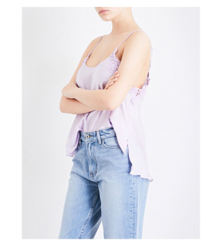 FREE PEOPLE Woah appliquéd crepe camisole (Lilac
