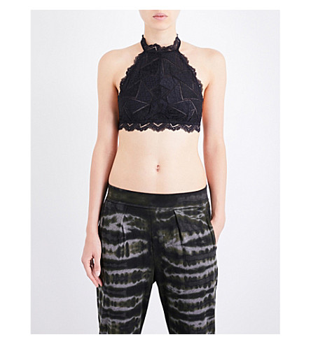 FREE PEOPLE Moonstruck halterneck lace top (Black