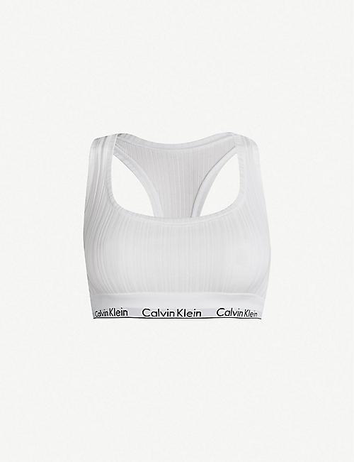 5bccc5f9670 CALVIN KLEIN - Modern Cotton ribbed stretch-cotton bralette ...