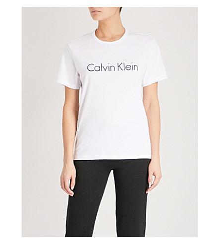 CALVIN KLEIN Logo-print cotton-jersey T-shirt (White