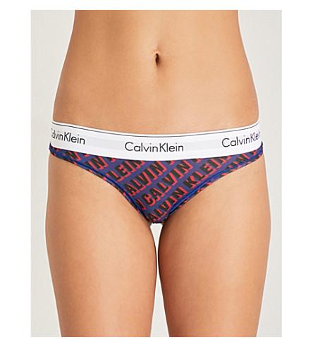 CALVIN KLEIN Carousel cotton-jersey thong (Dv5+logo+verve