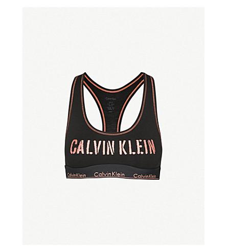 CALVIN KLEIN Modern cotton-blend bralette (Gts+blk+w+stencil+logo