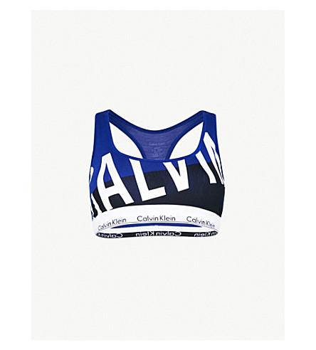 CALVIN KLEIN Modern cotton-blend bralette (Skw+skewed+logo