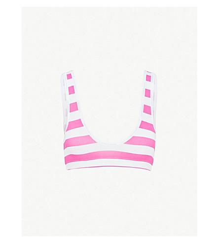 CALVIN KLEIN年轻的内衣伸展-棉花胸罩 (Shx + 条纹 + 地平线 + 玫瑰色