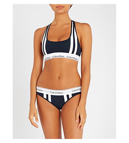 CALVIN KLEIN Modern Cotton stretch-jersey sports bra (0pp+shorelin+varsit+strp