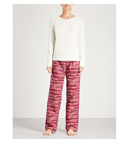 CALVIN KLEIN Logo-print stretch-cotton pyjama set with bag (Trl+ivory+logo