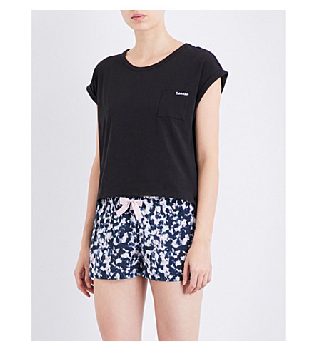 CALVIN KLEIN Shift stretch-cotton pyjama top (001+black