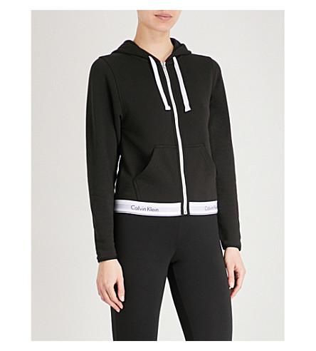 CALVIN KLEIN Modern Cotton zip-up cotton-jersey hoody (001+black