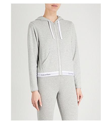 CALVIN KLEIN Modern Cotton zip-up cotton-jersey hoody 020 grey heather Store Sale MFkBw9m
