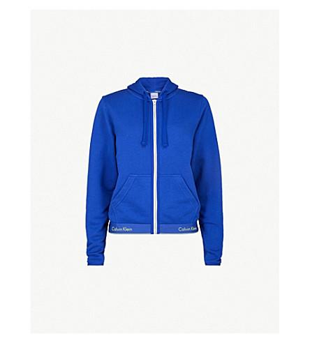 CALVIN KLEIN Modern Cotton zip-up cotton-jersey hoody (Pure cerulean