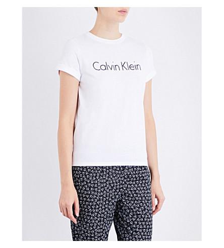 CALVIN KLEIN Logo-print cotton-jersey pyjama T-shirt (100+white