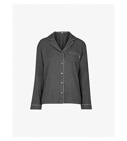 CALVIN KLEIN Branded-trim cotton-blend pyjama shirt (038+charcoal+heather