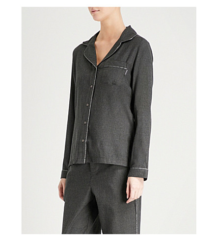 CALVIN KLEIN Branded-trim cotton-blend pyjama shirt (038+charcoal+heather