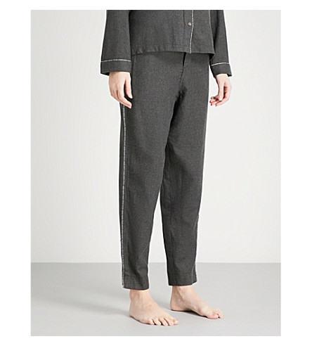 CALVIN KLEIN Branded-trim cotton-blend pyjama trousers (038+charcoal+heather