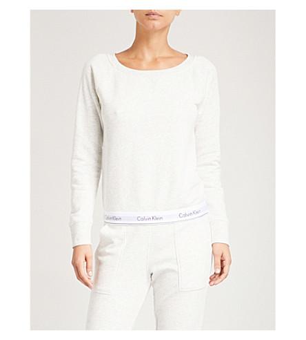 CALVIN KLEIN Logo cotton-blend sweatshirt (Snn+snow+heather