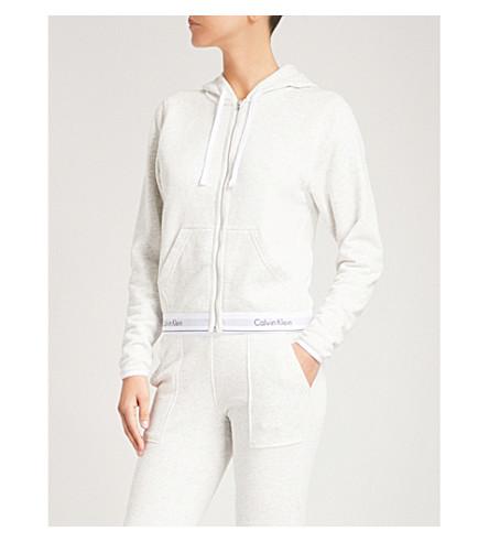CALVIN KLEIN Logo cotton-blend hoody (Snn+snow+heather