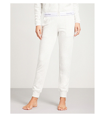 CALVIN KLEIN Logo cotton-blend jogging bottoms (Snn+snow+heather