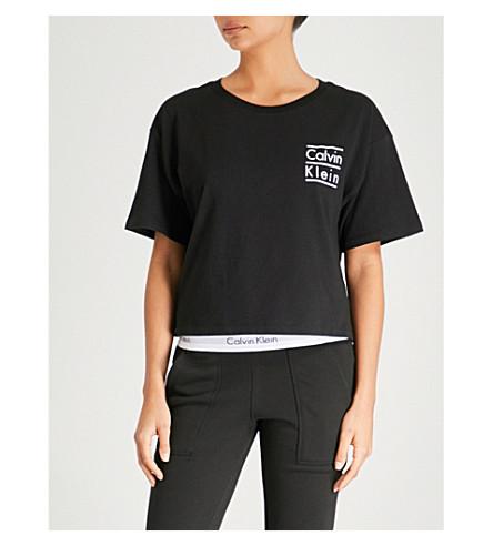 CALVIN KLEIN 品牌标识平纹针织棉 T 恤 (001 + 黑色
